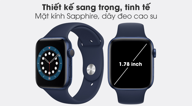 Apple Watch S6 44mm viền nhôm dây cao su có thiết kế sang trọng