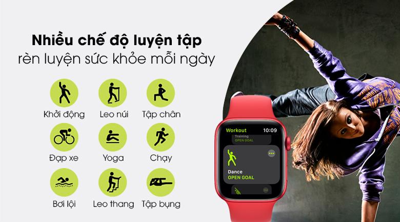 Apple Watch S6 44mm viền nhôm dây cao su có nhiều chế độ luyện tập cho bạn