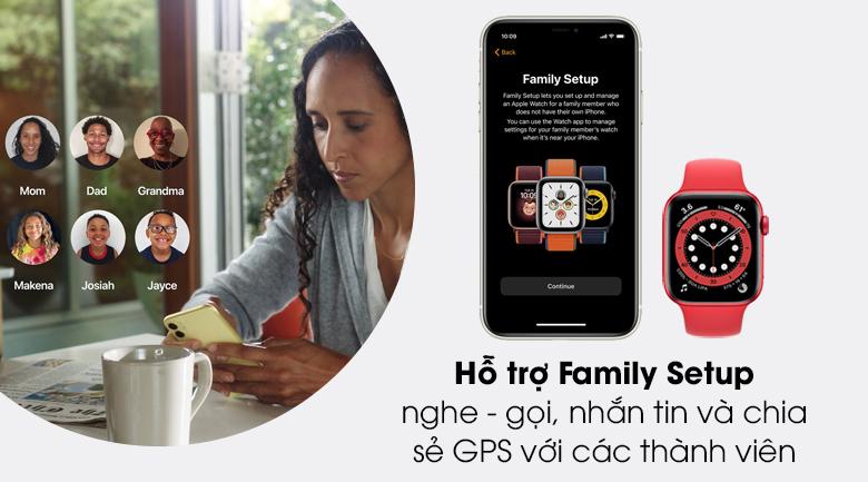 Apple Watch S6 44mm viền nhôm dây cao su có tính năng Family Setup