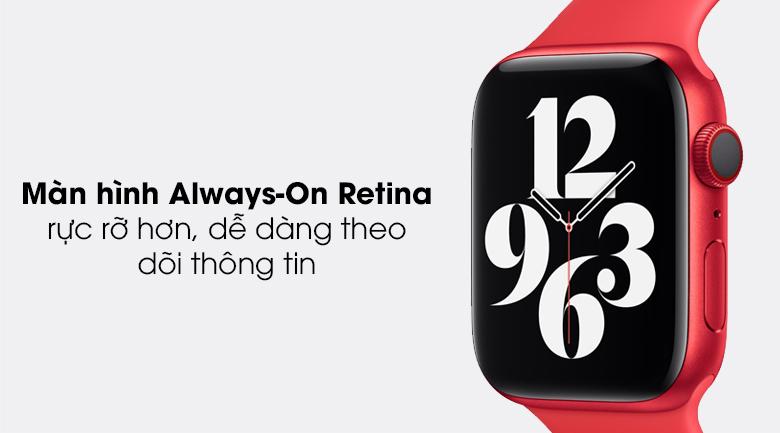 Apple Watch S6 44mm viền nhôm dây cao su có màn hình luôn hiển thị
