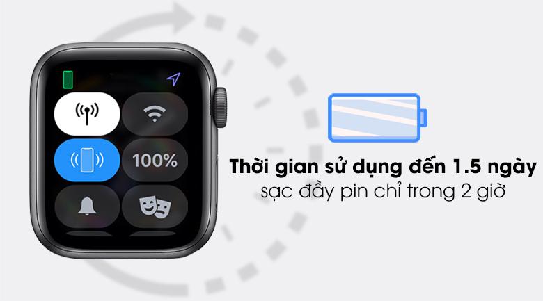Apple Watch SE LTE 40mm viền nhôm dây cao su có thời lượng pin kéo dài