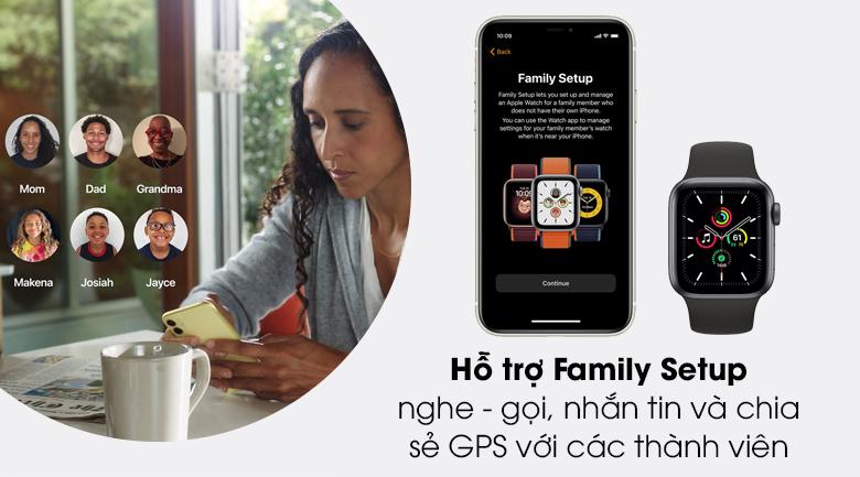 Apple Watch SE LTE 40mm viền nhôm dây cao su có thêm tính năng family setup