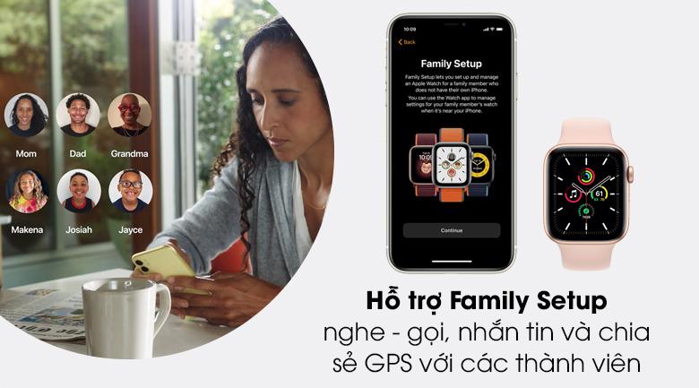 Apple Watch SE LTE 44mm viền nhôm dây cao su được hỗ trợ family setup
