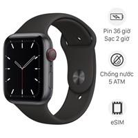 Apple Watch SE LTE 44mm viền nhôm dây cao su đen