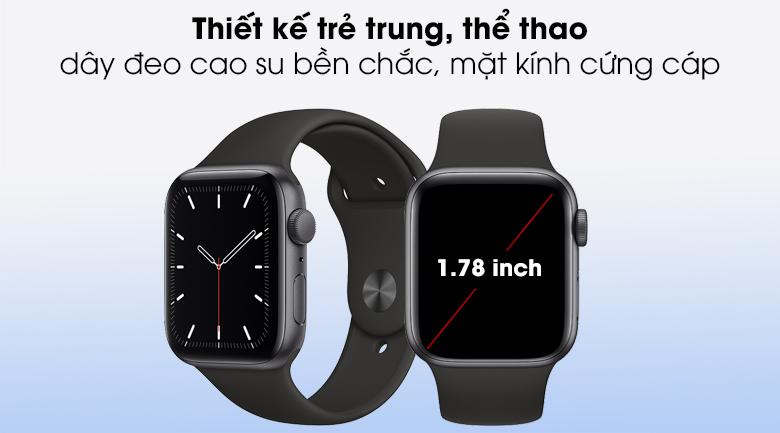 Apple Watch SE 44mm viền nhôm dây cao su mang kiểu dáng sang trọng, năng động