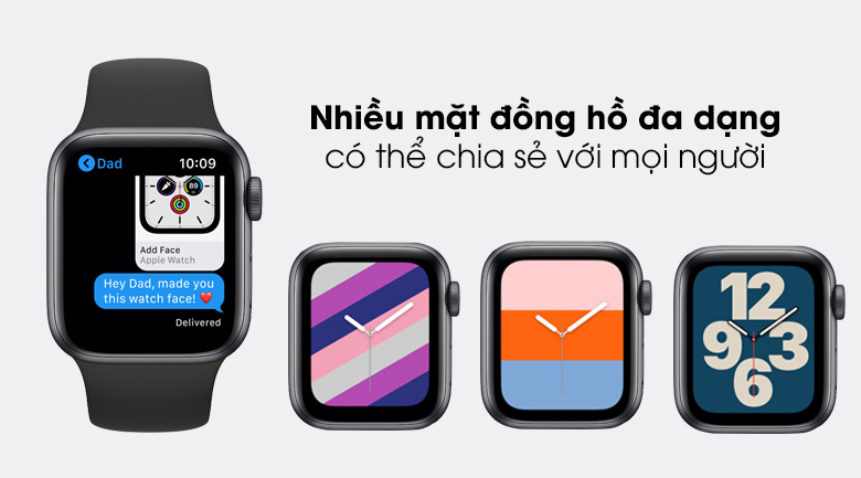 Apple Watch SE 44mm viền nhôm dây cao su tích hợp nhiều giao diện mặt đồng hồ phong cách