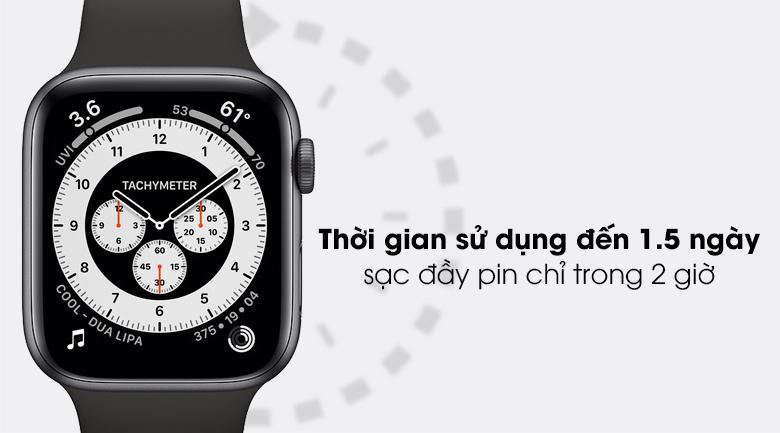 Apple Watch SE 44mm viền nhôm dây cao su có thời lượng pin 1.5 ngày