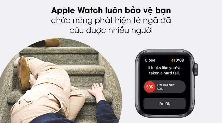 Apple Watch SE 44mm viền nhôm dây cao su có tính năng phát hiện sự cố té ngã