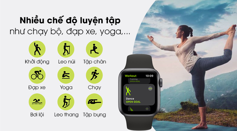 Apple Watch SE 44mm viền nhôm dây cao su có nhiều tập thể thao từ cơ bản đến nâng cao