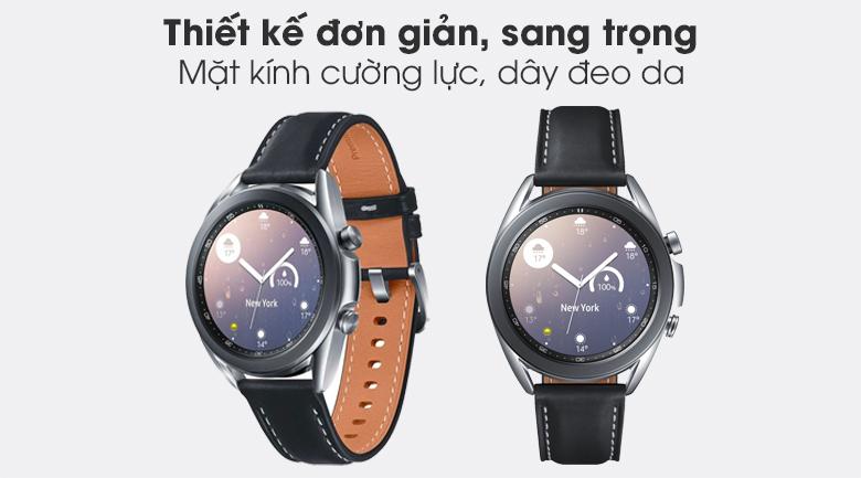 Đồng hồ Samsung Galaxy Watch 3 41mm viền thép bạc dây da thiết kế đơn giản sang trọng