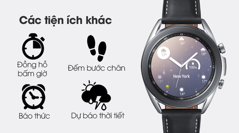 Đồng hồ Samsung Galaxy Watch 3 41mm viền thép bạc dây da có nhiều tính năng tiện lợi khác