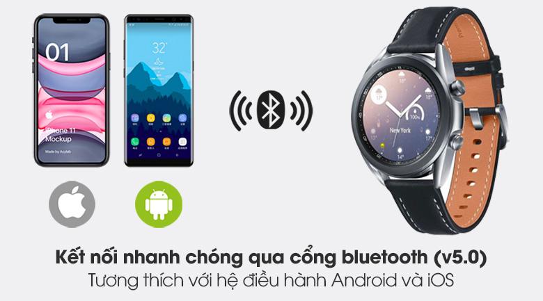 Đồng hồ Samsung Galaxy Watch 3 41mm viền thép bạc dây da có tính năng kết nối bluetooth nhanh chóng