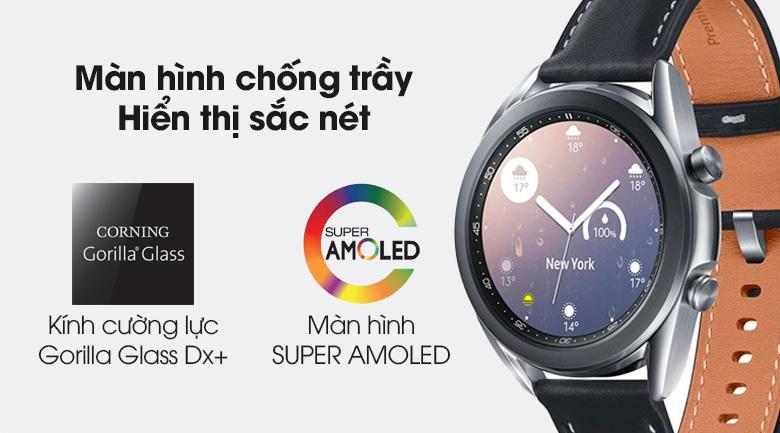Đồng hồ Samsung Galaxy Watch 3 41mm viền thép bạc dây da được trang bị màn hình chống trầy