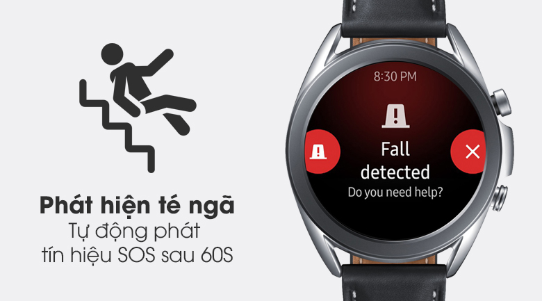 Đồng hồ Samsung Galaxy Watch 3 41mm viền thép bạc dây da có tính năng phát hiện té ngã