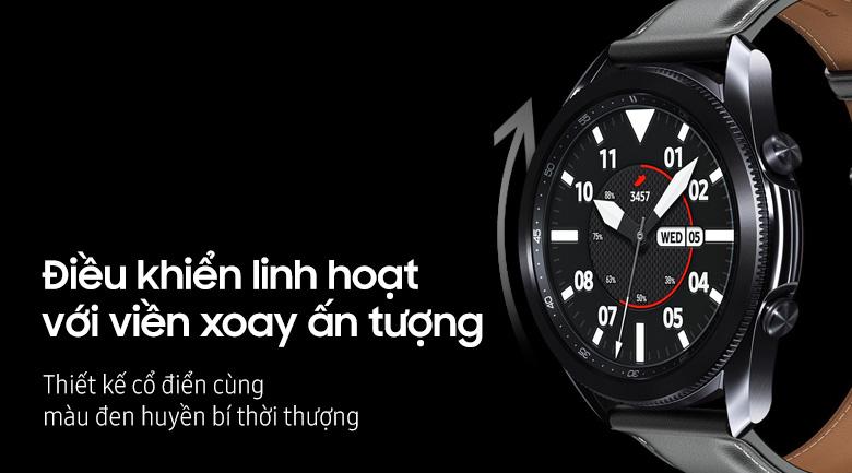 Đồng hồ Samsung Galaxy Watch 3 45mm viền thép bạc dây da
