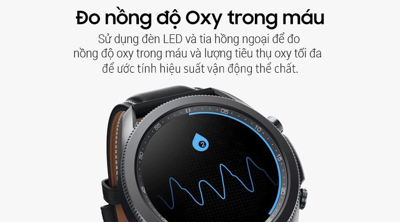 Đồng hồ Samsung Galaxy Watch 3 45mm viền thép bạc dây da giúp theo dõi các chỉ số sức khỏe