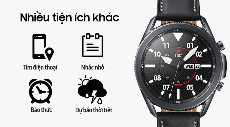 Đồng hồ Samsung Galaxy Watch 3 45mm viền thép bạc dây da có nhiều tiện ích khác