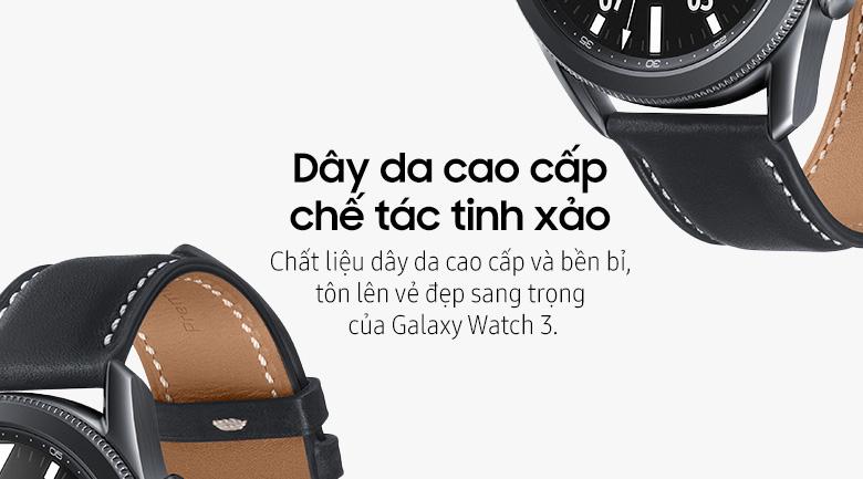 Đồng hồ Samsung Galaxy Watch 3 45mm viền thép bạc dây da sang trọng, đẳng cấp
