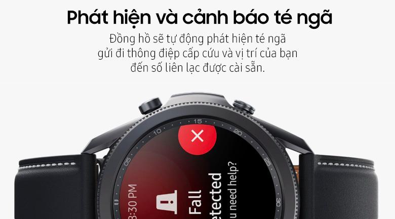 Đồng hồ Samsung Galaxy Watch 3 45mm viền thép bạc dây da giúp phát hiện và cảnh báo té ngã