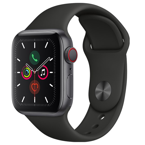 Apple Watch S5 LTE 40mm viền nhôm dây cao su đen
