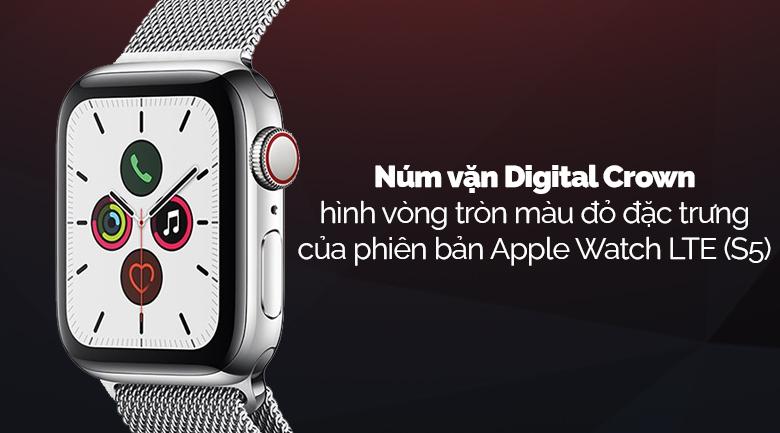 Apple Watch S5 LTE 44mm viền thép dây thép bạc có núm vặn Digital Crown hiện đại