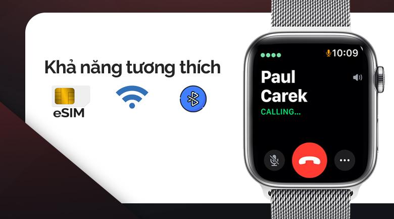 Apple Watch S5 LTE 44mm viền thép dây thép bạc có eSim và dễ dàng kết nổi wifi, bluetooth