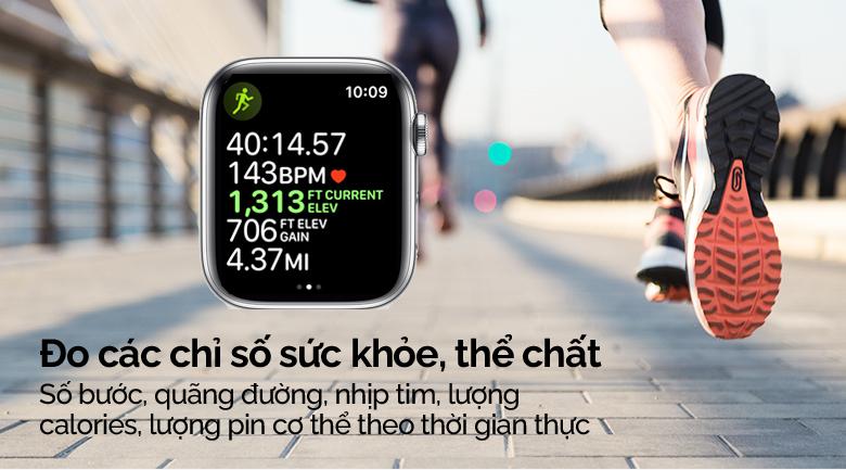 Apple Watch S5 LTE 44mm viền thép dây thép bạc giúp bạn đo các chỉ số sức khỏe, thể chất