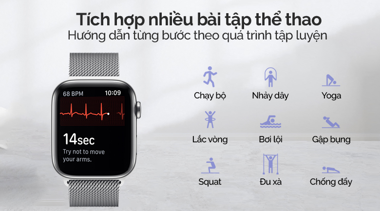 Apple Watch S5 LTE 44mm viền thép dây thép bạc được tích hợp nhiều bài tập thể thao