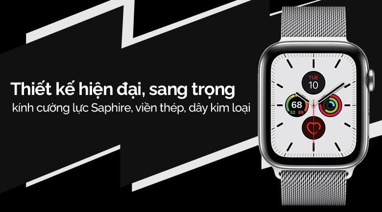 Apple Watch S5 LTE 44mm viền thép dây thép bạc mang thiết kế trẻ trung