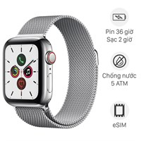 Apple Watch S5 LTE 44mm viền thép dây thép bạc