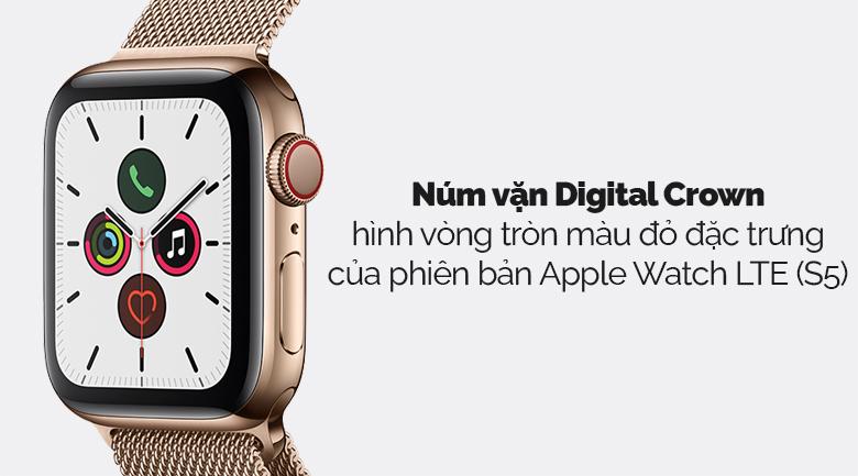 Apple Watch S5 LTE 44mm viền thép dây thép vàng có núm vặn Digital Crown đẹp mắt