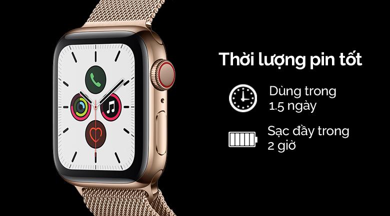 Apple Watch S5 LTE 44mm viền thép dây thép vàng có thời lượng pin tốt