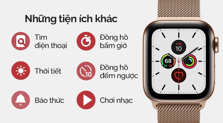 Apple Watch S5 LTE 44mm viền thép dây thép vàng có nhiều tiện ích khác