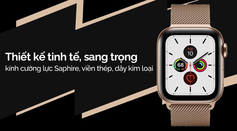 Apple Watch S5 LTE 44mm viền thép dây thép vàng có thiết kế sang trọng