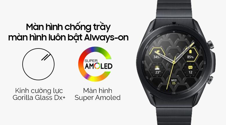 Đồng hồ Samsung Galaxy Watch 3 45mm titanium có màn hình hiển thị sắc nét, chống trầy