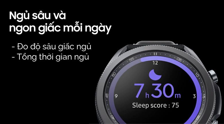 Đồng hồ Samsung Galaxy Watch 3 45mm titanium ghi lại giấc ngủ mỗi ngày