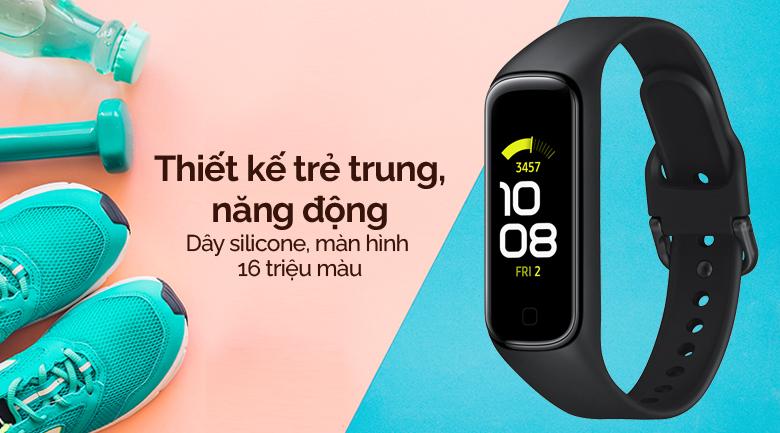 Vòng tay thông minh Samsung Galaxy Fit2 đen có thiết kế trẻ trung