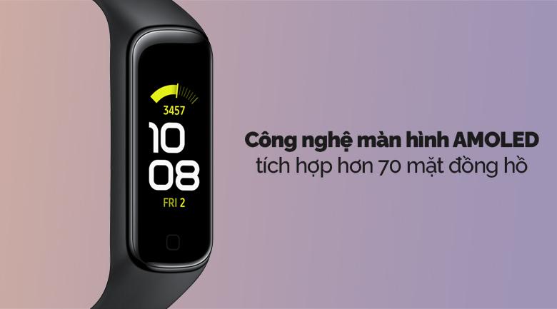 Vòng tay thông minh Samsung Galaxy Fit2 đen với công nghệ màn hình AMOLED