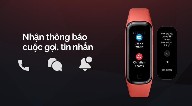Vòng tay thông minh Samsung Galaxy Fit2 đỏ nhận thông báo cuộc gọi và tin nhắn tiện lợi