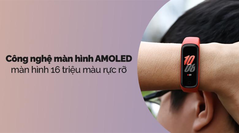 Vòng tay thông minh Samsung Galaxy Fit2 đỏ với công nghệ màn hình AMOLED