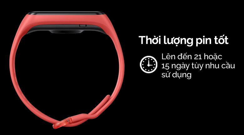 Vòng tay thông minh Samsung Galaxy Fit2 đỏ có dung lượng pin tốt