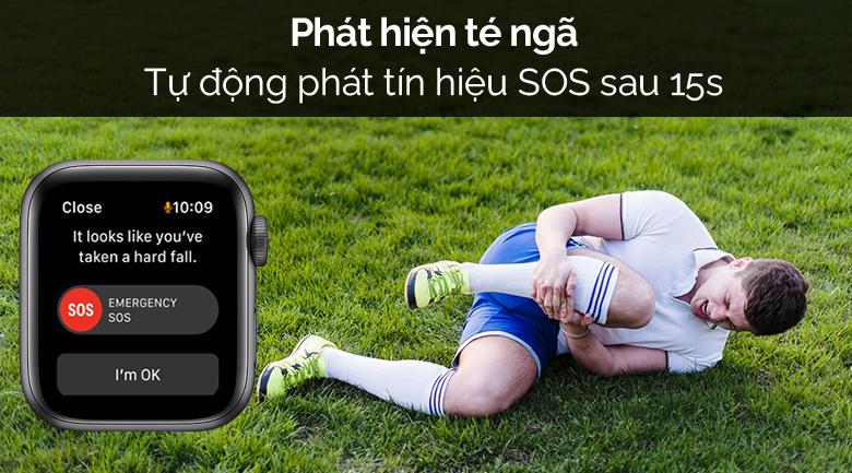 Apple Watch SE LTE 40mm viền nhôm dây cao su đen có tính năng phát hiện sự cố té ngã