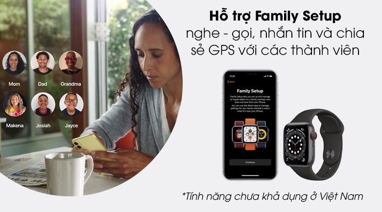 Apple Watch SE LTE 40mm viền nhôm dây cao su đen có tính năng Family Setup