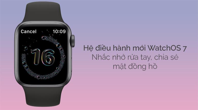 Apple Watch SE LTE 40mm viền nhôm dây cao su đen có hệ điều hành WatchOS 7 với nhiều tính năng mới