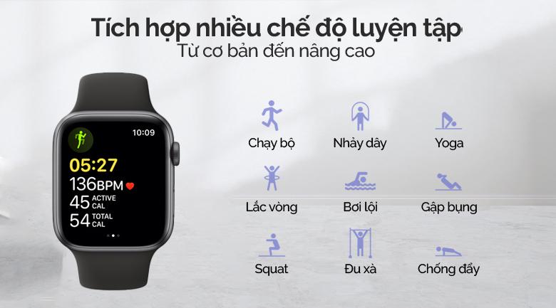 Apple Watch SE LTE 40mm viền nhôm dây cao su đen được tích hợp nhiều chế độ luyện tập