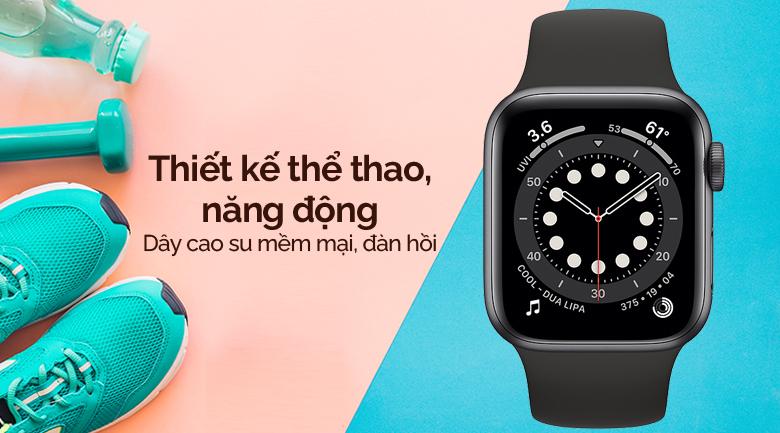 Apple Watch SE LTE 40mm viền nhôm dây cao su đen có thiết kế hiện đại, trẻ trung