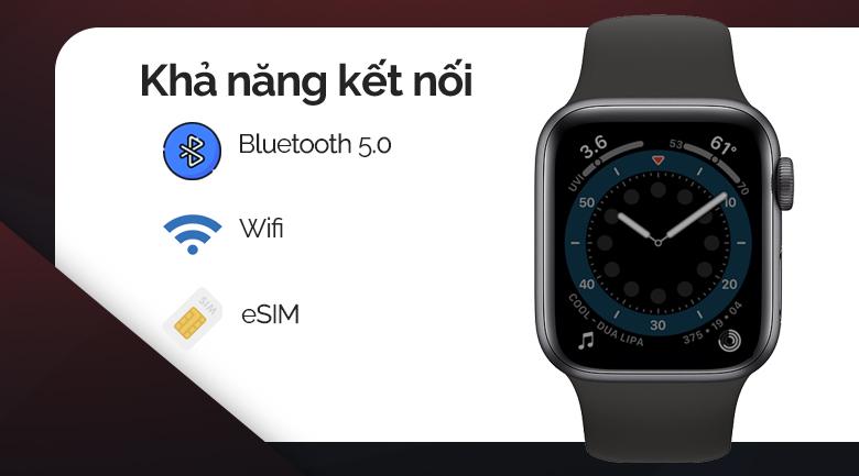 Apple Watch SE LTE 40mm viền nhôm dây cao su đen kết nối với điện thoại dễ dàng