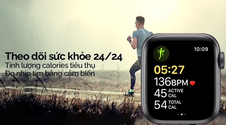 Apple Watch SE LTE 40mm viền nhôm dây cao su đen theo dõi sức khỏe người dùng