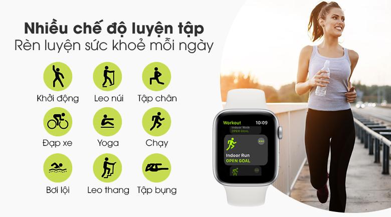 Đồng hồ Apple Watch SE LTE 44 mm có nhiều chế độ luyện tập thể thao từ cơ bản đến nâng cao
