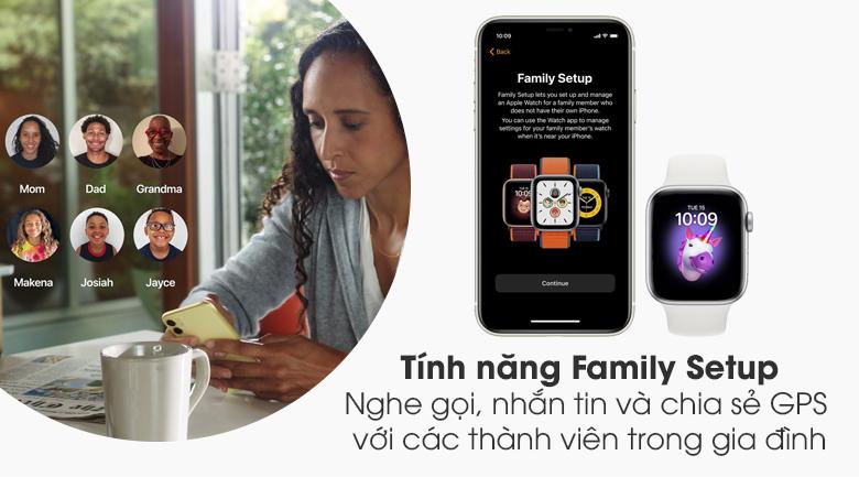 Đồng hồ Apple Watch SE LTE 44 mm hỗ trợ bạn chăm sóc sức khỏe các thành viên trong gia đình tốt hơn với Family Setup